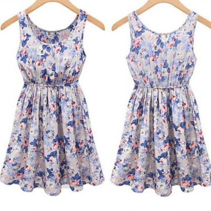 Slim round neck sleeveless printed ..
