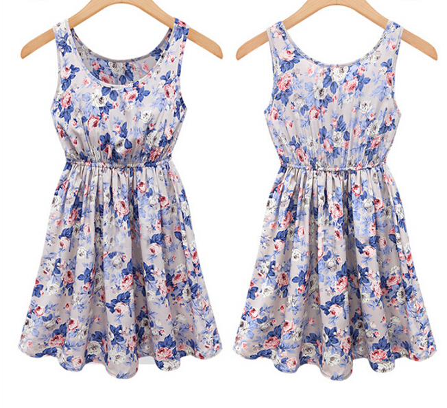 Slim round neck sleeveless printed dress FG42419JH
