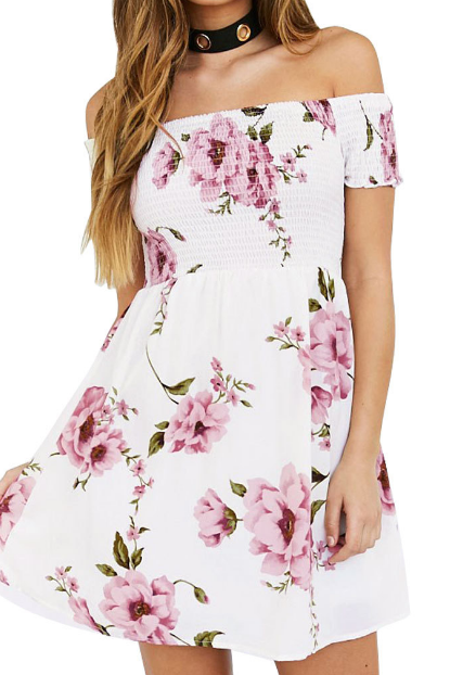 Sexy Printed A Word Shoulder Short Sleeve Dress