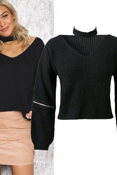 Knitted Warm Sweater Casual Loose Open Sleeve Zipper Jumper