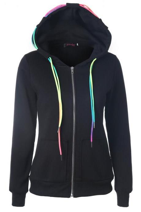Women'S Hooded Zipper Pocket Cardigan Jacket