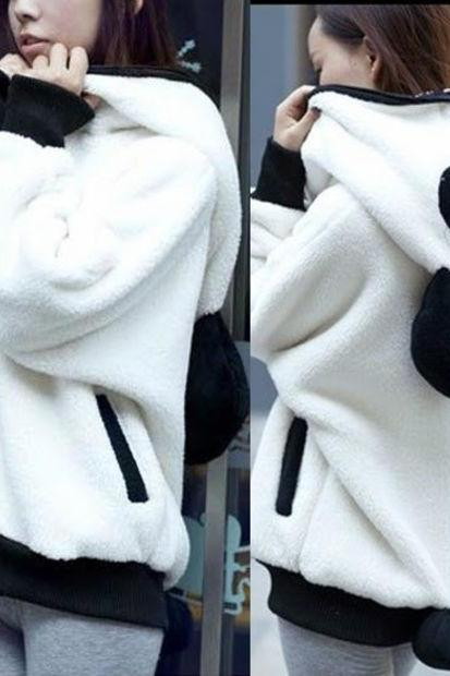Lovely Panda Detachable Tail Zip Up Womens Hoodie Outwear Kigurumi Sweats Pocket