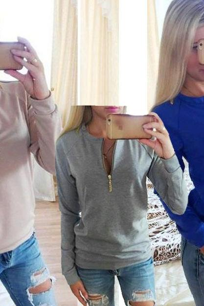 Fashion Round Neck Zipper Long-Sleeved Sweater