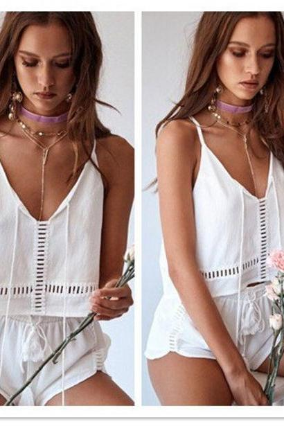 Summer Sexy Hollow Out Chiffon Stylish Tops & Bottoms Set