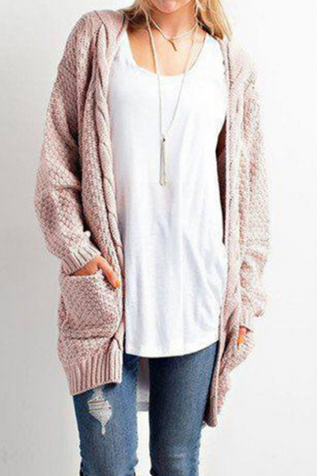 Long Sleeve Knitwear Open Front Cardigan Sweaters Outerwear with Pocket