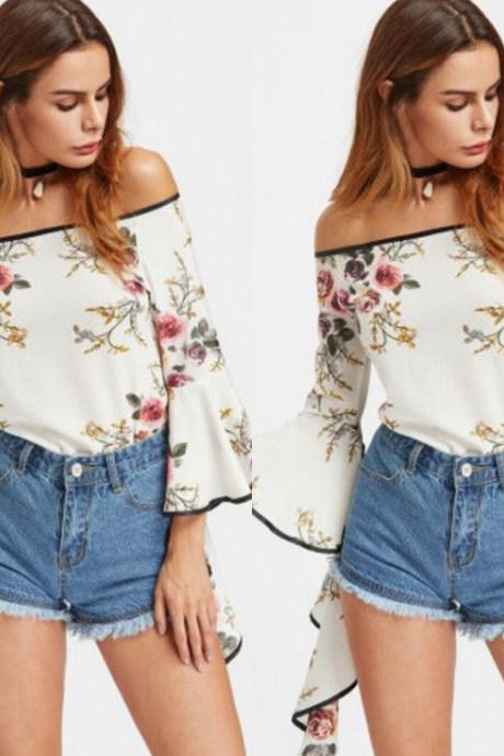Off-The-Shoulder Floral Print Chiffon Top with Trumpet Sleeves