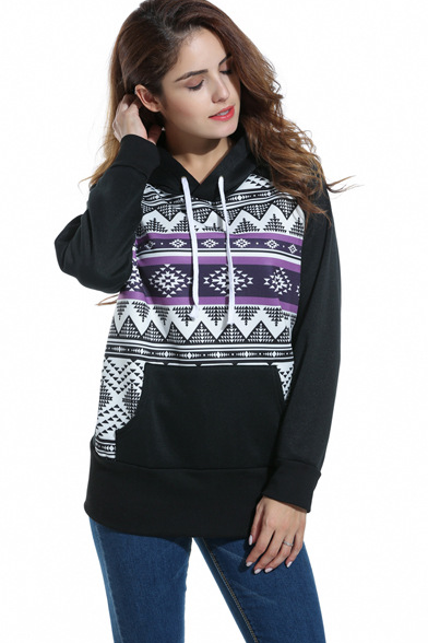 Women Long-Sleeved Hooded Printing Sweater
