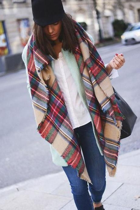 Black Friday Sale Multicolor Plaid Raw Edge Scarf