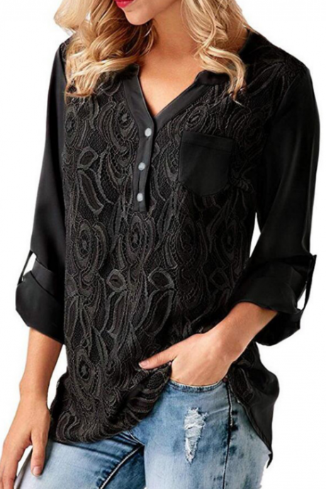 Women'S V-Neck Long Sleeve Chiffon Shirt