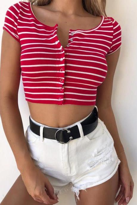 Red White Stripes Short Sleeves Button Down Crop Top T Shirt