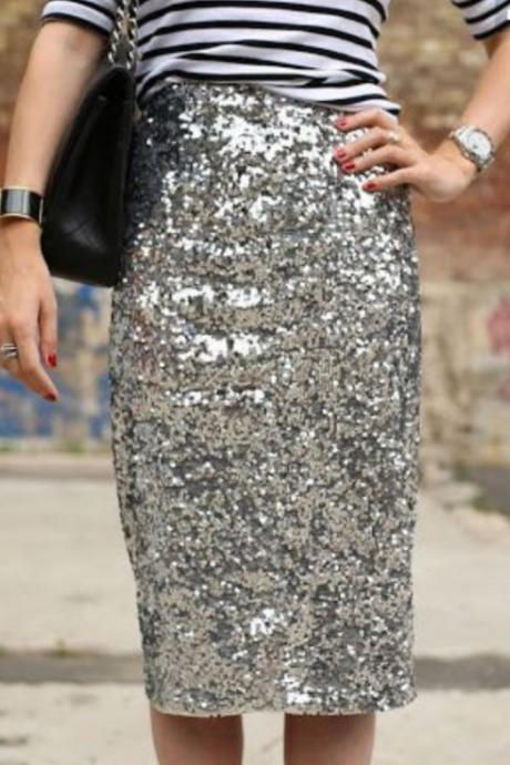 2018 Women'S Sexy Sequins Package Hip Skirt