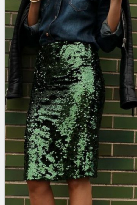 Women'S Sexy Green Sequins Package Hip Skirt