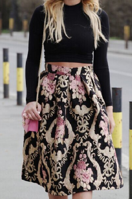 Retro Design Printed Skirt