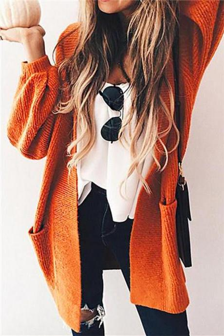 Long Sleeve Knit Sweater Cardigan Jacket