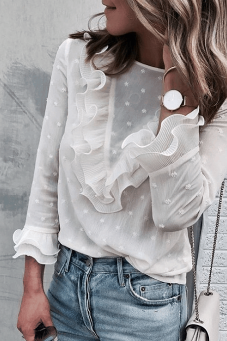 White Long-Sleeved Round Neck Button Top