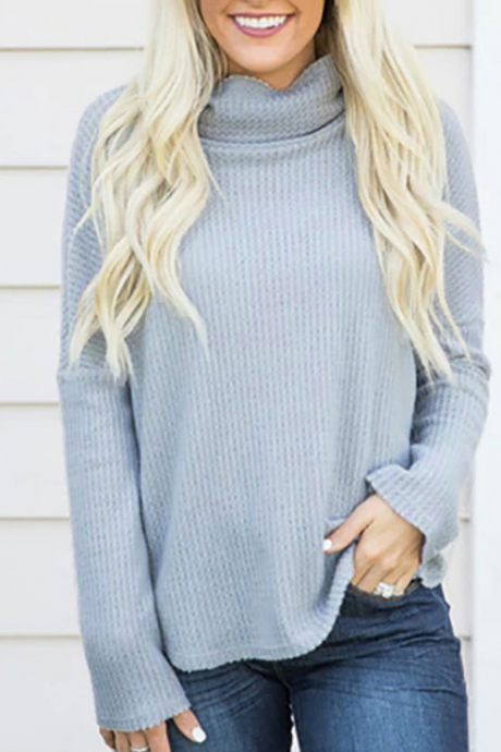 Loose Solid Color Long Sleeve Knit Sweater
