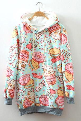 Cream Dessert Cartoon Fleece Hoodie FG103107JK