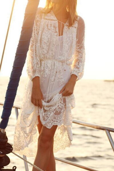 PRINTING WHITE LACE FLOUNCED DRESS