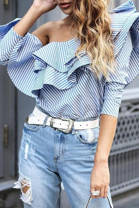 Blue and White Striped Ruffled One Shoulder Long Sleeve Top