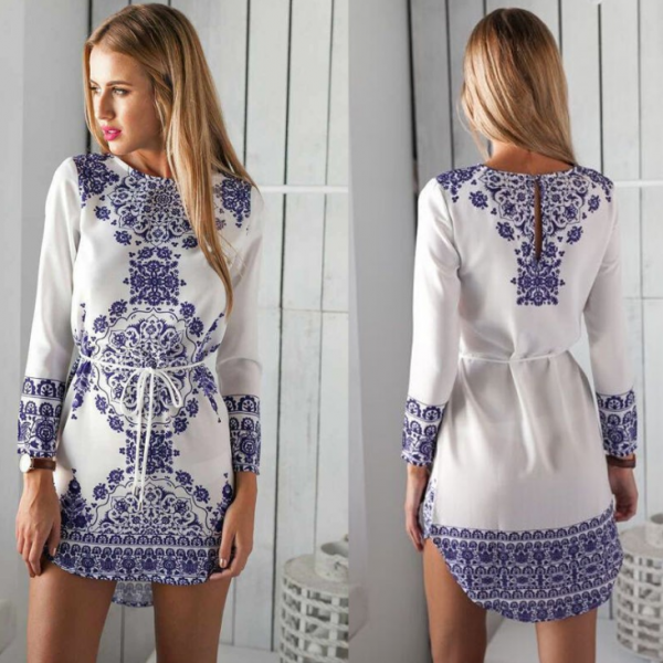 Round Neck Printing Long-Sleeved Dress 17516