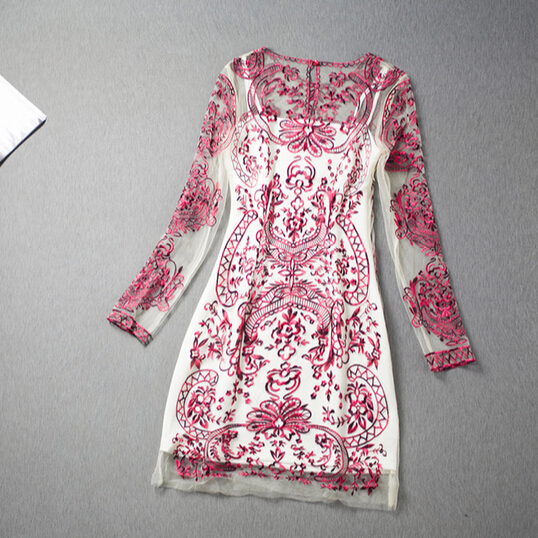 Slim embroidered gauze dress VG122008NM