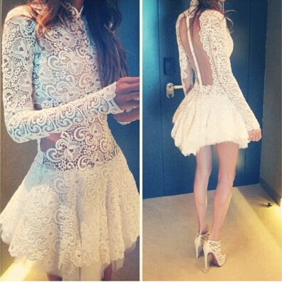 Slim Lace Long-Sleeved Dress VG