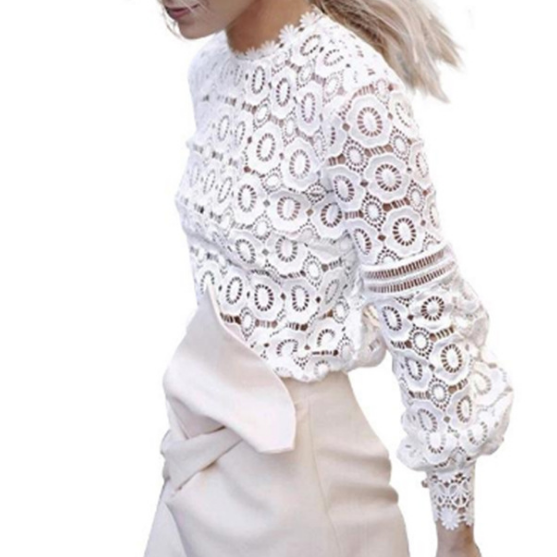 Lace Appliqued Mock Neck Long Sleeved Shirt